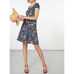 Dorothy Perkins - Blue embroidered print dress