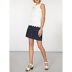 Dorothy Perkins - Ivory chevron lace shell top
