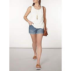 Dorothy Perkins - Ivory mesh lace front shell top