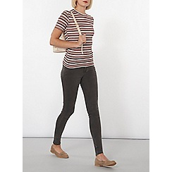 Dorothy Perkins - Berry and ivory stripe knit t-shirt