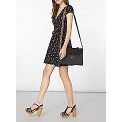 Dorothy Perkins - Black doodle wrap dress