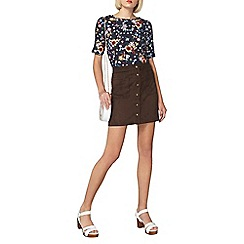 Dorothy Perkins - Black floral laced sleeve t-shirt