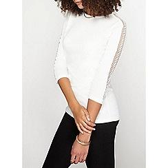 Dorothy Perkins - Ivory lace shoulder t-shirt