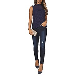 Dorothy Perkins - Navy lace victoriana top