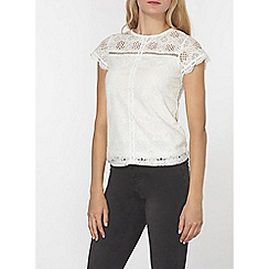 Dorothy Perkins - Ivory lace front top