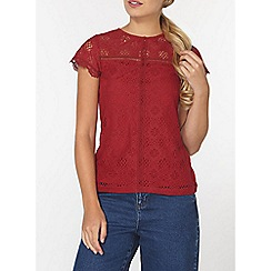 Dorothy Perkins - Red lace front t-shirt