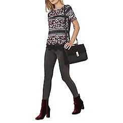 Dorothy Perkins - Black stripe floral t-shirt