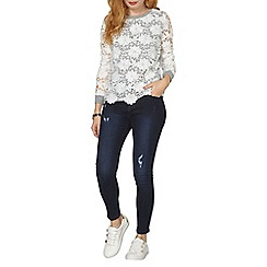 Dorothy Perkins - Grey and ivory lace detailed sweater