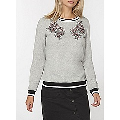 Dorothy Perkins - Grey floral embroidered sweatshirt