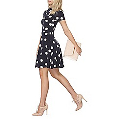 Dorothy Perkins - Navy and ivory spot collar dress