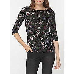 Dorothy Perkins - Black floral slash neck t-shirt