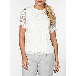 Dorothy Perkins - Ivory geo lace front t-shirt