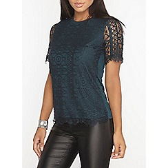 Dorothy Perkins - Green geo lace front t-shirt