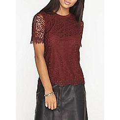 Dorothy Perkins - Berry geo lace front t-shirt