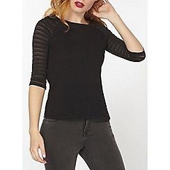 Dorothy Perkins - Black textured jersey t-shirt