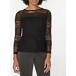Dorothy Perkins - Black lace bow back top