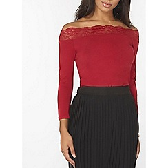Dorothy Perkins - Red lace trim jersey bardot top