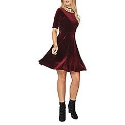 Dorothy Perkins - Berry velour skater dress