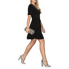 Dorothy Perkins - Black velour wrap dress