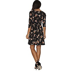 Dorothy Perkins - Black oriental belted dress