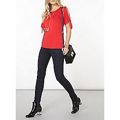 Dorothy Perkins - Red tie sleeve t-shirt