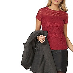 Dorothy Perkins - Raspberry panel lace t-shirt