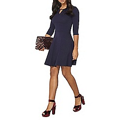 Dorothy Perkins - Navy and ivory keyhole dress