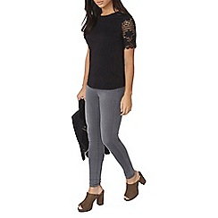 Dorothy Perkins - Black lace sleeve t-shirt