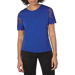 Dorothy Perkins - Cobalt lace sleeve t-shirt