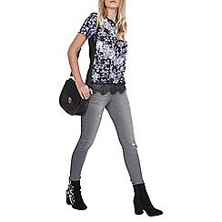 Dorothy Perkins - Blue chevron print lace t-shirt