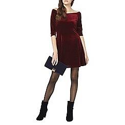 Dorothy Perkins - Wine velour bardot dress