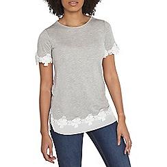 Dorothy Perkins - Grey chiffon lace hem t-shirt