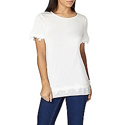 Dorothy Perkins - Ivory chiffon hem and lace detail top