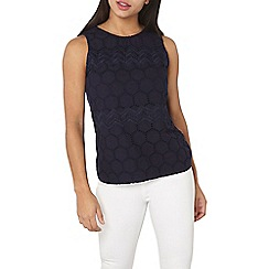 Dorothy Perkins - Navy broderie shell top