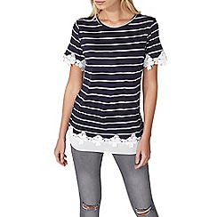 Dorothy Perkins - Navy striped jersey t-shirt
