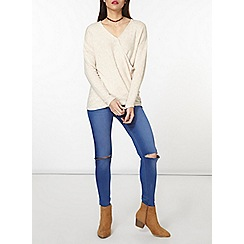 Dorothy Perkins - Oatmeal wrap jersey knit top