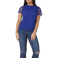 Dorothy Perkins - Cobalt geo lace t-shirt