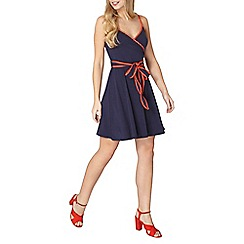 Dorothy Perkins - Navy and orange printed wrap dress