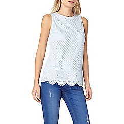 Dorothy Perkins - Blue geo lace shell top