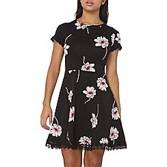 Dorothy Perkins - Black floral lace trim dress
