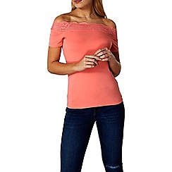 Dorothy Perkins - Coral lace trim bardot top
