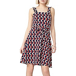 Dorothy Perkins - Navy and red geo ruffle sun dress
