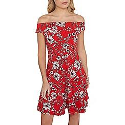 Dorothy Perkins - Tall red floral bardot dress
