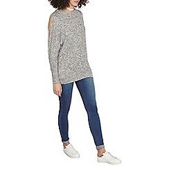 Dorothy Perkins - Tall grey jersey knit split sleeves top