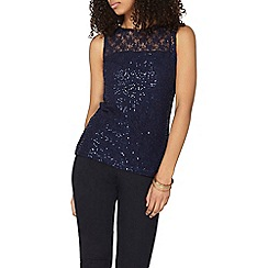 Dorothy Perkins - Navy sequin lace shell