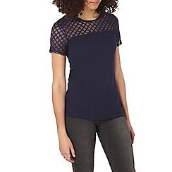 Dorothy Perkins - Tall navy lace jersey t-shirt