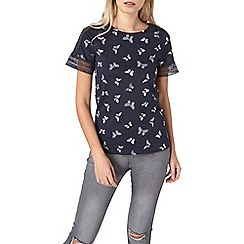 Dorothy Perkins - Navy butterfly lace t-shirt