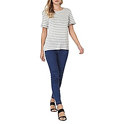 Dorothy Perkins - Grey striped flutter sleeves t-shirt