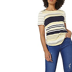 Dorothy Perkins - Yellow and grey striped t-shirt with curve hem