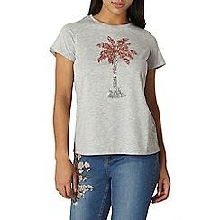 Dorothy Perkins - Grey sequin palm t-shirt